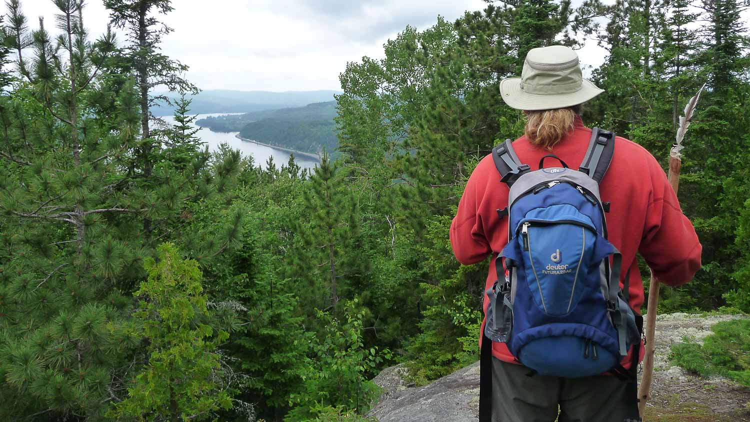 Forge Film production the great trails episode in the Mauricie region in Quebec with a guide showing us the scenery